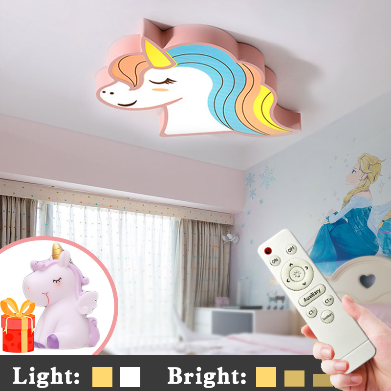 Image 2 - Unicorn kids room light led ceiling lights with remote control cartoon lampshade children room cute ceiling lamp deco child room-in Ceiling Lights from Lights & Lighting