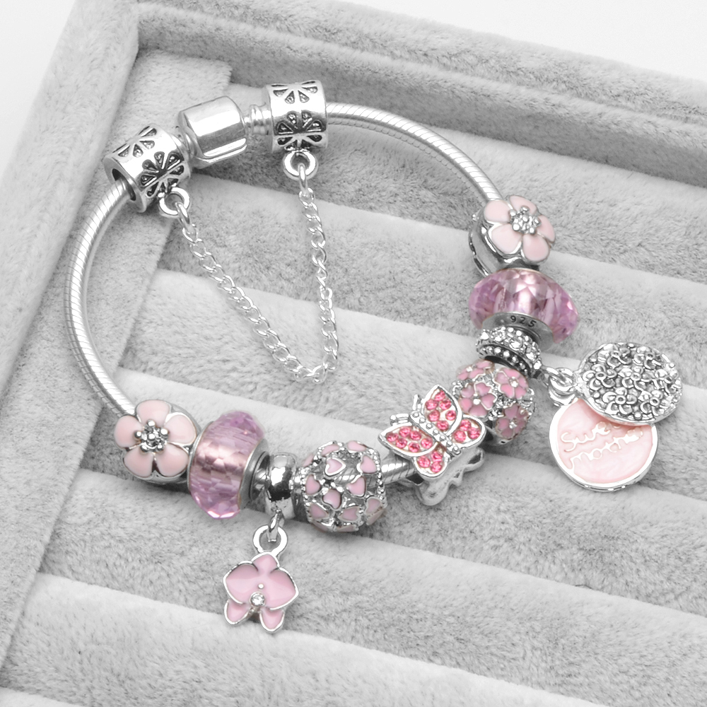 European Style Pink Murano Glass Charm Sweet Mather Fit Pandora Bracelet for Women Pulseras With a Beautiful Gift Bag