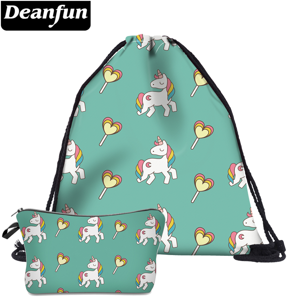 Deanfun 2Pc 3D Printing Women Unicorn Drawstring Bags For Teenager Schoolbags