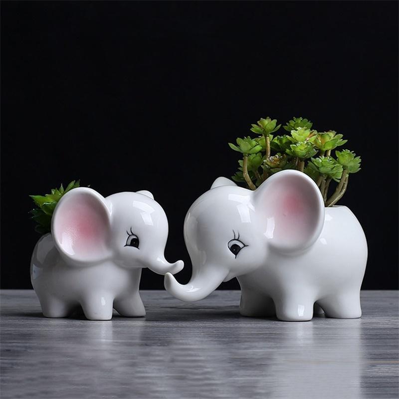 LanLan Animals Shape Ceramic Flower Pot Elephant Succulent Planter Cactus Succulent Plants Flower Cute White Pot Flowerpot