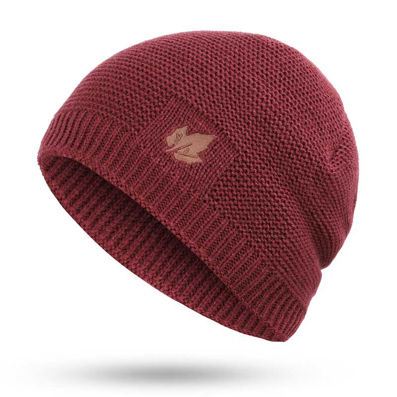 Зимние мужские вязаные шапки, шарф, уличные теплые бархатные унисекс новые модные трендовые брендовые шапки кленовый лист, кожаный Стандартный комплект для мужчин - Цвет: Wine B