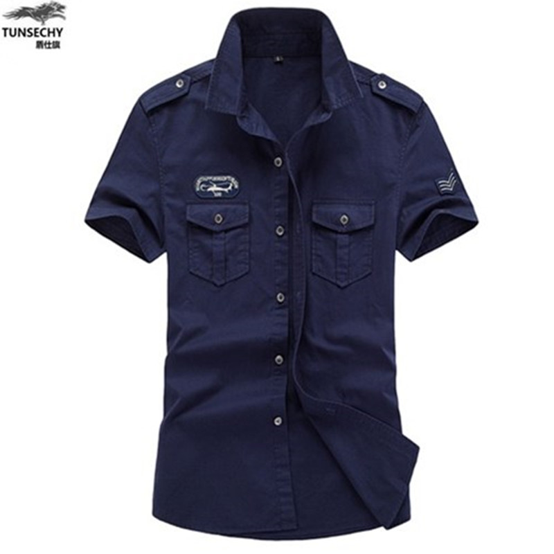 TUNSECHY plus size M~5XL 6XL new mens summer cotton Short sleeve army Air force one   Polo   shirt men breathable camisa masculina