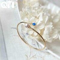 QYI 18 К желтое золото браслет натуральный синий опал Okoya жемчуг настоящие бриллианты юбилей подарок для женщин ювелирные изделия