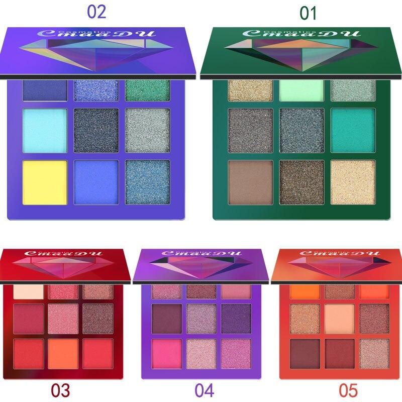 9 Farver Øjenskygge Makeup Paletter Vandtæt Jord Varm Shimmer Matte Pulver Aften Partier Bryllup Makeup med Børste