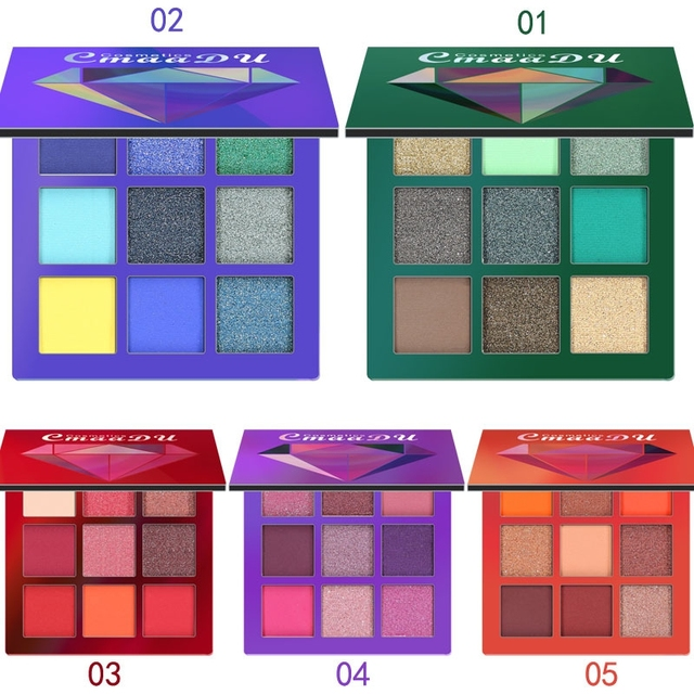 9 Colors Eye Shadow Makeup Palettes Waterproof Earth Warm Shimmer Matte Powder For Party Wedding Makeup With Brush