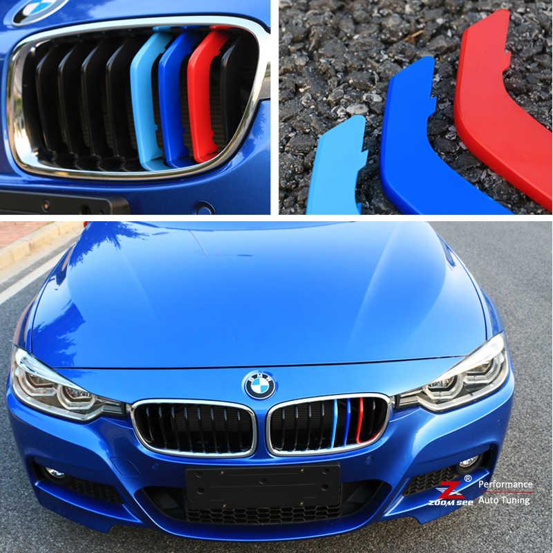 Car Front Grille Stripes M Sport Strips Grill Cover Performance Clip Stickers For Bmw 3 Series E46 E90 E91 E92 E93 F30 F31 F35