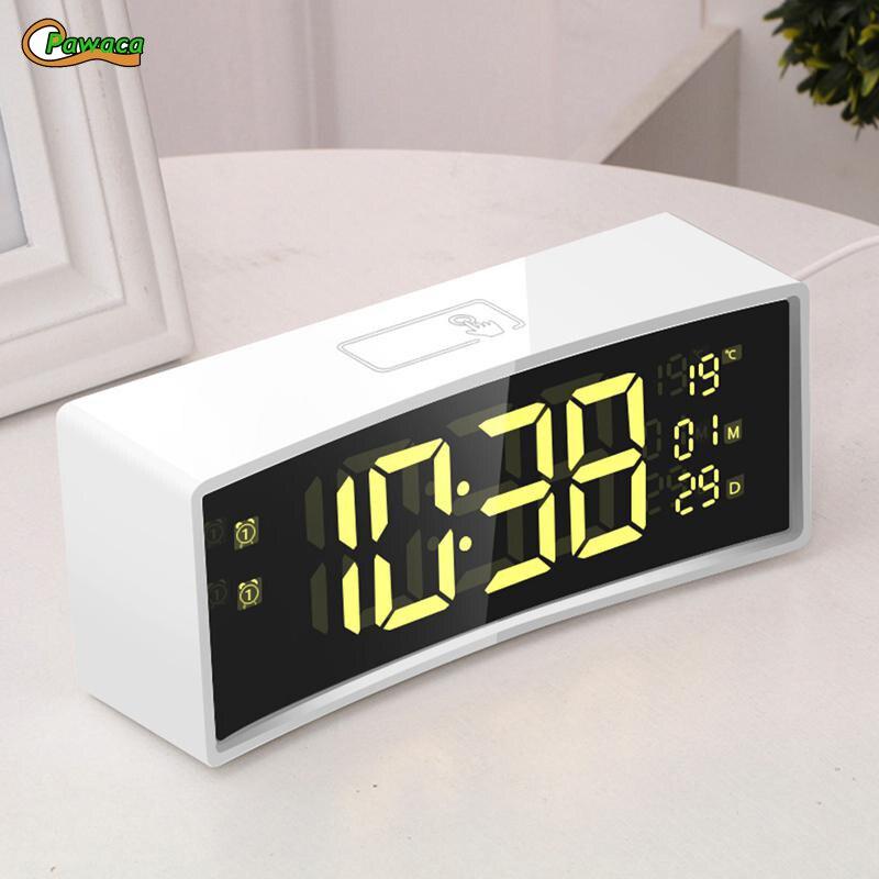 3D Curvo Superficie Dello Schermo Galleggiante Carattere Intelligente Specchio Orologio Elettronico Orologio Sul Comodino LED Digital Alarm Clock Snooze Display di Grandi Dimensioni