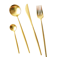 Gold Cutlery Set 24pcs 18/8 Stainless Steel Dinner Knife Fork Tablespoon Teaspoon Tableware Sets for Restaurant Kitchen Tools