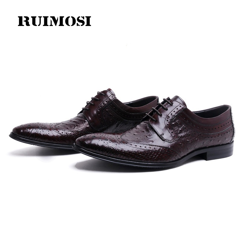 RUIMOSI Pointed Designer Luxury Brand Ostrich Man Formal Dress Shoes Genuine Leather Brogue Oxfords Men's Wing Tip Flats JD55