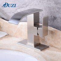DUZI Waterfall Water Mixer Nickel Brushed Bathroom Sink Faucet Tap Cold Hot With Sink Faucet Hole