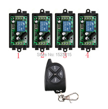 DC12V 1CH 10A RF Wireless Remote Control Switch System 433 MHZ 1 transmitter 4 receiver relay