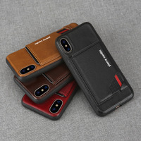 Pierre Cardin Genuine Leather Case Slim Card Holder Stand Flip Leather Style Sofe Cover Case For Apple iPhone X Phone Case