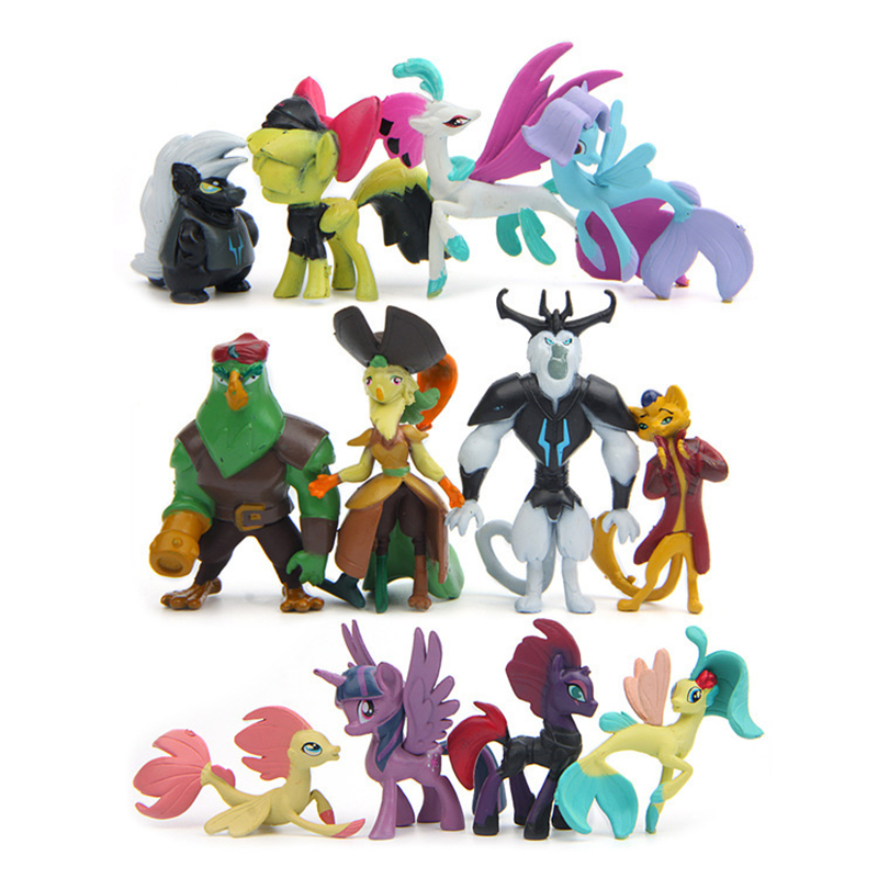 12 Pcs/set 3-7CM My Cute Lovely Little Horse Action Figures Model Toys Unicorn Dolls Poni Figure for Children Gift 6pcs set disney trolls dolls action figures toys popular anime cartoon the good luck trolls dolls pvc toys for children gift