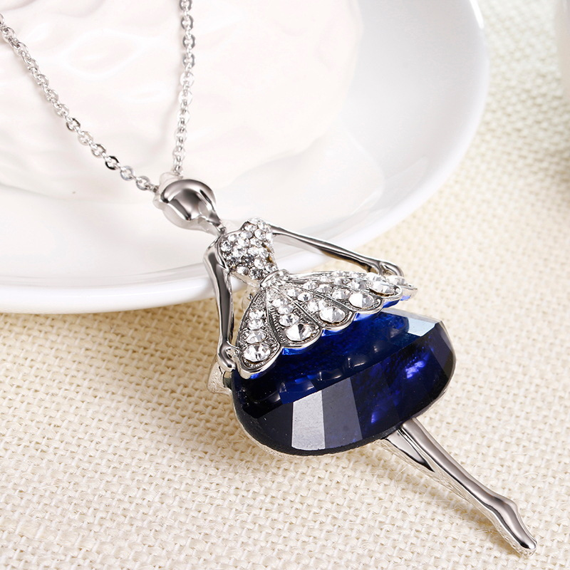 Cute Doll Necklace Long Chain Pendant Rhinestone Necklaces for Women Girl Modern Design Crystal Dress Baby Statement Jewelry 2