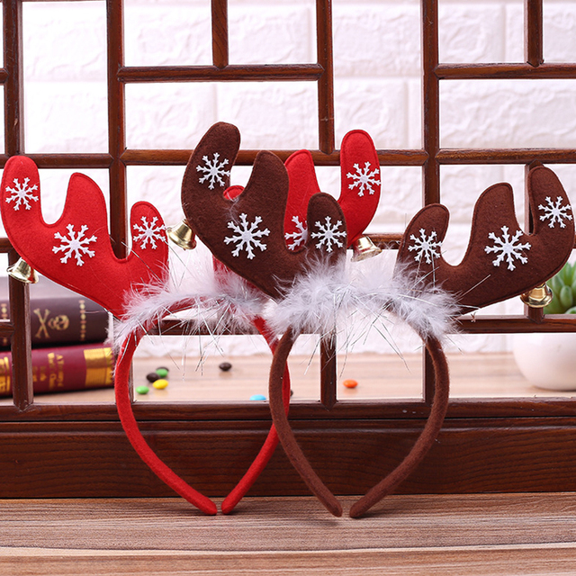 Christmas Headband Deer Antler Hair Reindeer Xmas Tree Women Kids Cosplay Gift New Year 2018 Home Party Decoration Accessories