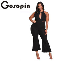 Gosopin Plus Size Flared Sexy Jumpsuit Clubwear Black Backless Women Body Jumpsuit Hollow Out Full Length Party Jumpsuit LC64360