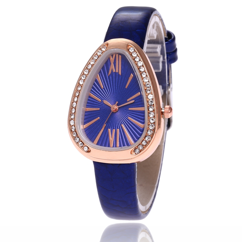 Luxury Brand Rose Gold Women Watches Fashion Casual Rhinestone Dress Wristwatch Ladies Snake Shape Leather Strap Watch Relogio in Women 39 s Watches from Watches