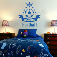 Soccer Football Custom Name Baby Personalized Art Wall Sticker Boy Bedroom Crown Star Home Special  Gift VinylZW385