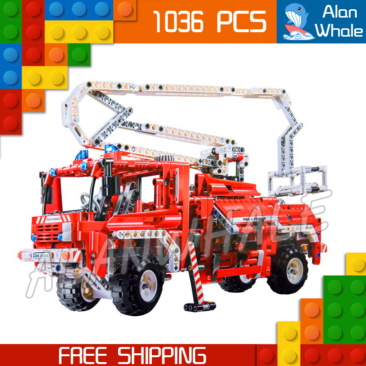 1036pcs 3323 Technic Fire Truck Model Building Blocks minicar diecast cars automobile miniature Boys Toys Compatible with Lego 8 in 1 military ship building blocks toys for boys