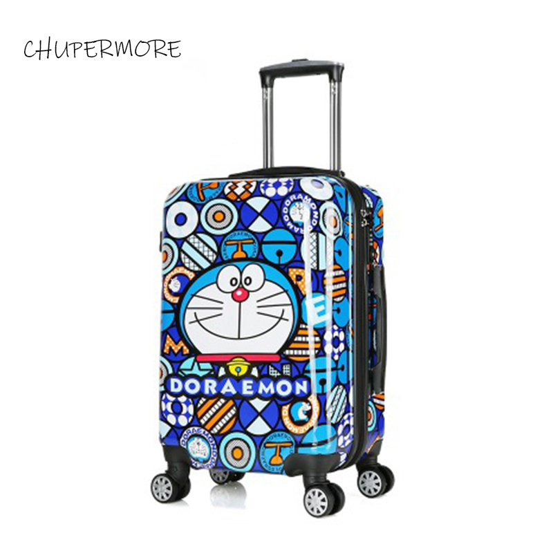 Healthy Material Cartoon Robot Cat High Quality PC Rolling Luggage Child Travel Essentials Suitcase