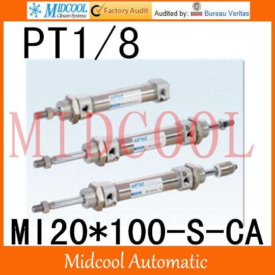 MI série ISO6432 Mini cylindre en acier inoxydable MI20 * 100-S-CA alésage 20mm port PT1/8