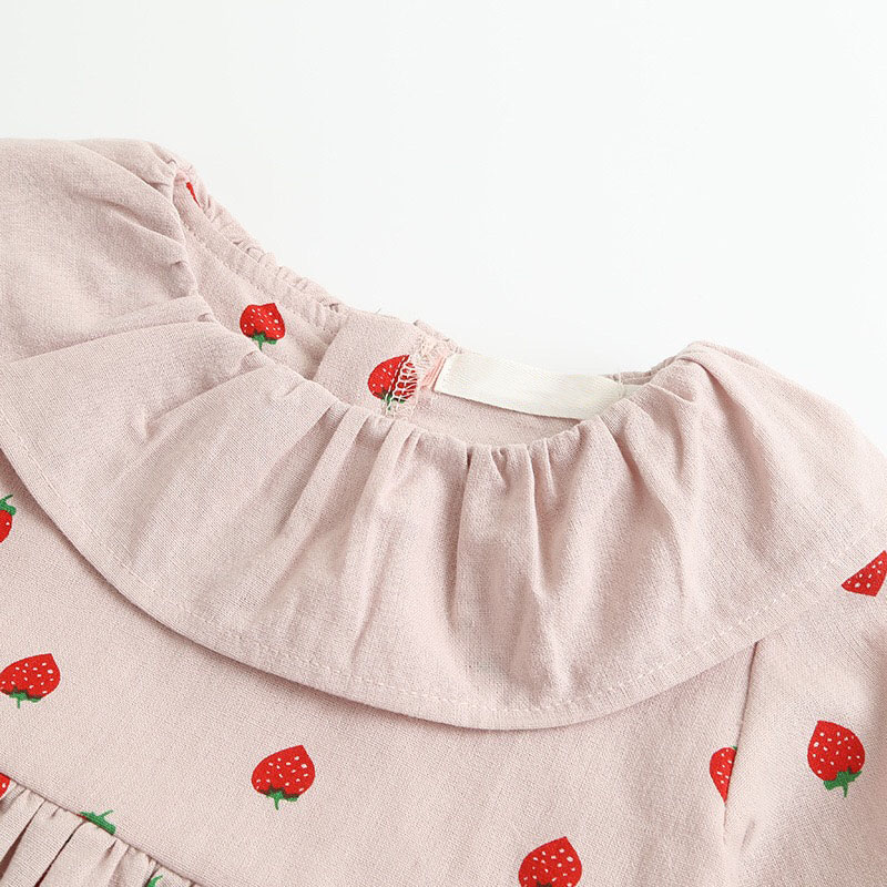 LUEISENY Spring Girls Dress Children Full Sleeve Clothes For 2 7Y Baby Cute Strawberry Dresses in Dresses from Mother Kids