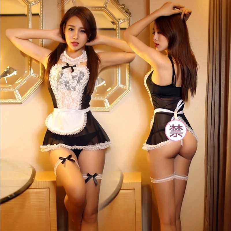 New Maid Uniform Costumes Role Play Women Sexy Lingerie Sexy white breathable lace  Erotic Uniform temptation Sexy Underwear