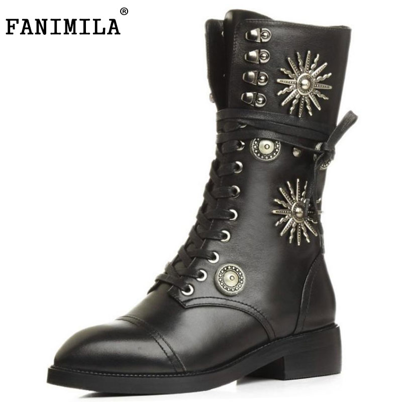 FANIMILA Size 33-41 Women Real Leather Mid Calf Boots Rivet High Heel Short Boots Warm Fur Shoes Winter Bota For Woman Footwear double buckle cross straps mid calf boots