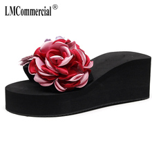 big size high heel one-word slippers anti-skid fashion beach shoes womens sandals female DIY flower flip flops women