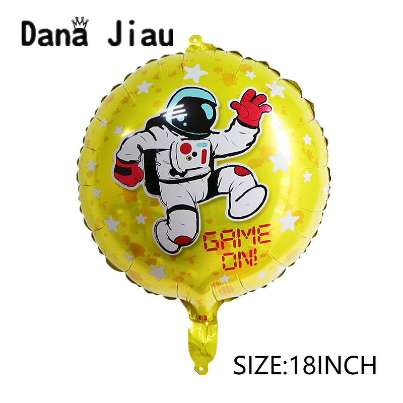 DanaJiau GAME ON boy HAPPY BIRTHDAY party balloon outer space astronaut foil baloon decorate Planet explore partner holiday toy image
