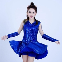 DS Female Adult Jazz Costume Modern Dance Practice Sequin Dress Square Dance Suit