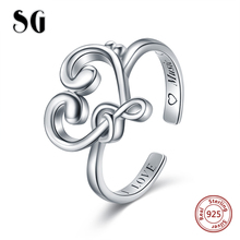 SG 925 Sterling Silver Note Wedding Rings For Women Luxury Jewelry Adjustable Heart Love Music Rings for women gifts недорого