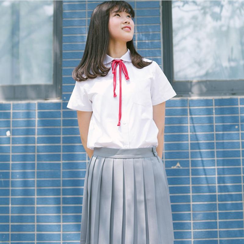 3ba531f82 Short Sleeve Japanese Korean Sailor Suits White Shirt+Gray Skirt School  Costumes Cute Girls High School Uniform