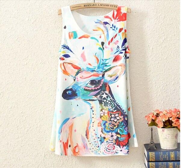 Mujeres tank tops verano 2015 animales verano camisetas sin mangas camisetas sin mangas impreso floral afloje blanco sin mangas estampado de leopardo 27