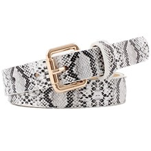 HUOBAO Fashion Black White Snake Leather Women Belts Gold Square Alloy Pin Buckle Female Waistband Jeans ceinture femme