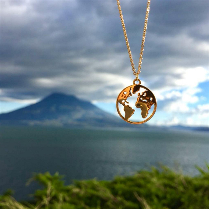 Learned Romad Hollow World Map Pendant Necklace For Women 925 Sterling Silver Fashion Jewelry Choker Simple Charms Link Men Necklaces R4
