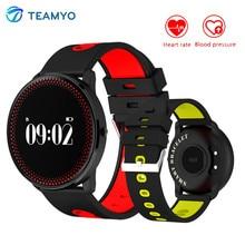 Teamyo Smart Band CF007 Приборы для измерения артериального давления часы с круглым Сенсорный экран сердечного ритма Фитнес трекер умный Браслет прогноз погоды
