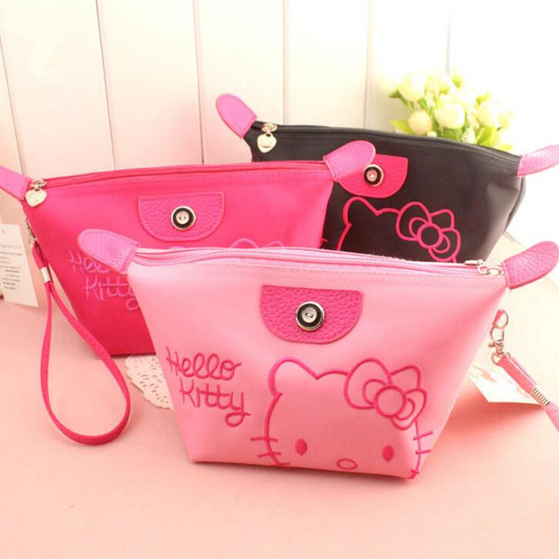 где купить Cartoon Hello Kitty Cosmetic Bag Women Travel Zipper Makeup Case Organizer Storage Pouch Toiletry Make Up Beauty Wash Kit Bags по лучшей цене