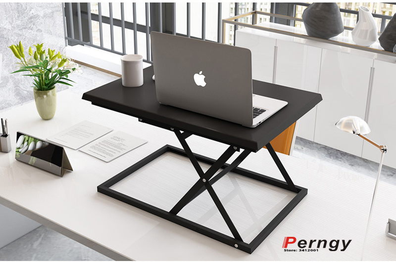 DL-TB1-A steel MDF computer sit stand workstation desk riser height adjustable laptop table laptop desk moving cart shelf height adjustable sit stand desk with heavy duty steel frame office furniture computer laptop table standing desk notebook stand