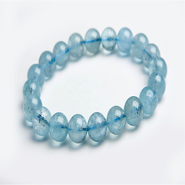 9.5mm Genuine Natural Blue Gems Stone Charm Bracelet Femme Loose Transparent Women Stretch Crystal Bead Bracelet