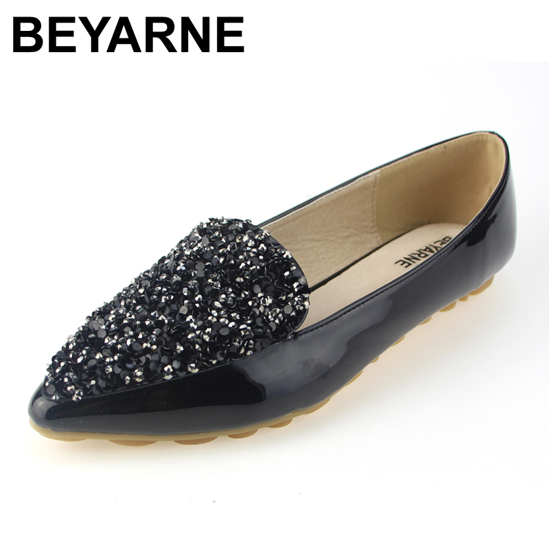 BEYARNE Spring Autumn Fashion Women Shoes Pointed Toe Slip-On Flat Shoes Woman Comfortable Single Casual Flats Size EU 34-43 memunia 2017 fashion flock spring autumn single shoes women flats shoes solid pointed toe college style big size 34 47