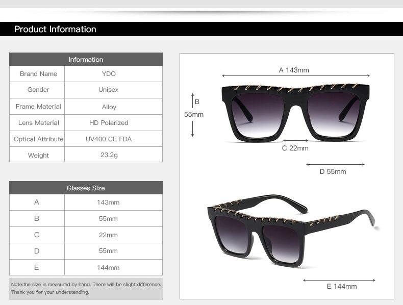YDO Big Size Sunglasses Women 2019 Square Sunglasses Luxury Brand Vintage Sunglasses  Oversized Sun Glasses Fashion Shades UV400 (5)