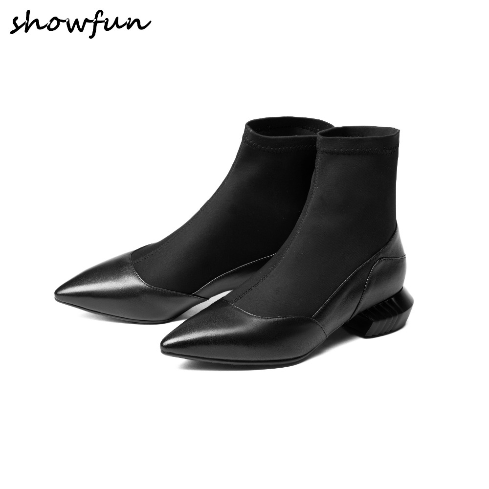 Women's Genuine Leather Stretch Fabric Patchwork Slip-on Autumn Ankle Boots Brand Designer Pointed Toe Flats Short Booties Shoes slip on winter boots stretch lycra