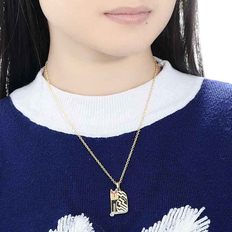 SANTUZZA collier en laiton pour femme belle chat noir pendentif collier à la main émail fête bijoux de mode