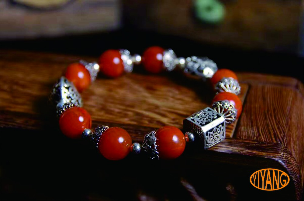 YY Handmade 925 sterling silver natural red agate boutique bracelet for wowan and girl Agate qq yy