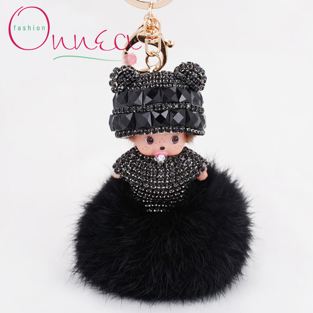 Monchichi Key Chain Soft Real Rabbit Fur Ball Plush Pompom Monchhichi keychain Women Handbag Key Ring Pendant Valentine's Day