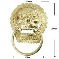 Yellow Brass Chinese Vintage Lion Head Furniture Door Pull Handle 190 260mm