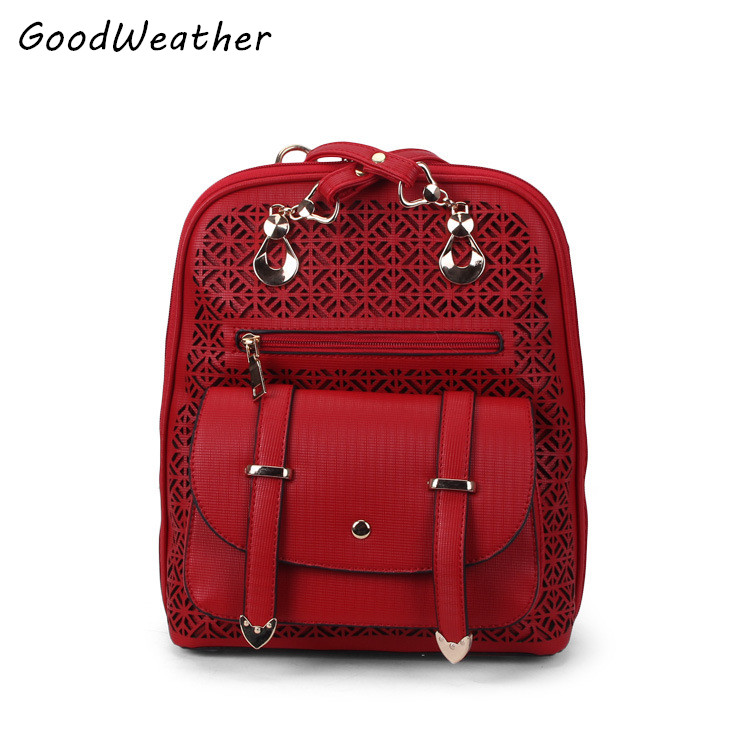High quality PU leather backpack women designer hollow out school bags for girls fashion zipper ladies