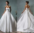 Халат де mariage романтический новый свадебное платье 2016 милая часовня поезд линии лучший атласная невесты платья бантом на спине AL6