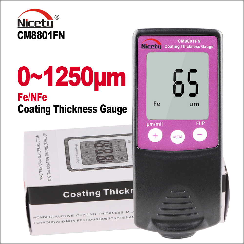 Nicety Automotive Car Paint Thickness Gauge Varnish Film Coating Thickness Tester Cars Meter Width Measur Instruments CM8801FN цена